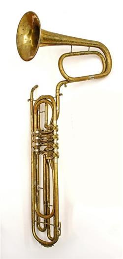 Contrabass valve trombone. Nominal pitch: 18-ft B?.   Stowasser