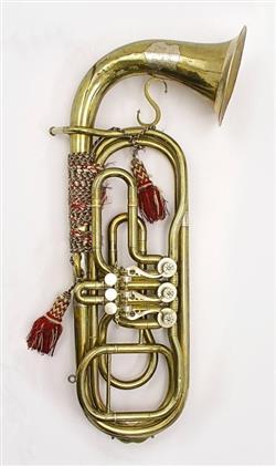 Contrabass valve trombone. Nominal pitch: 18-ft B?.   Schamal